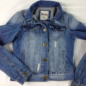 distressed denim long sleeve jean jacket Small